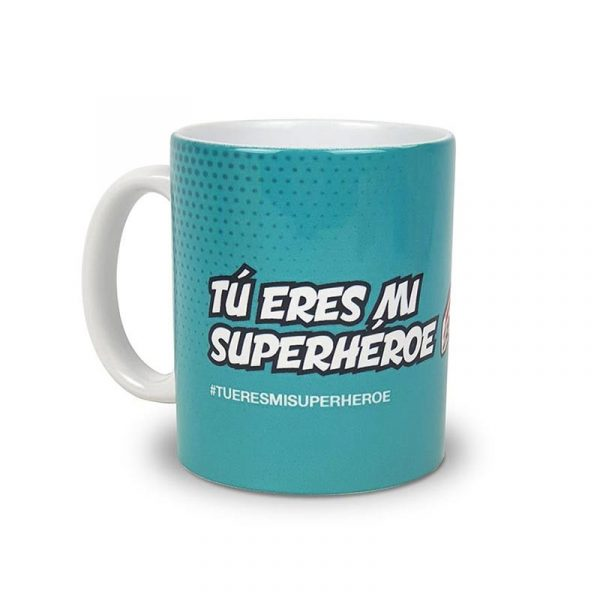 """Taza Pescador@s & Carnicer@s """"Tu eres mi Superhéroe"""""""