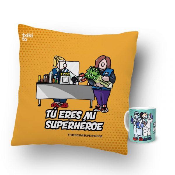 """Taza + Cojín """"Eres mi Superhéroe"""""""